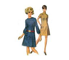 60s Women's Dress Front Pleated Side Seam Mandarin by HoneymoonBus, $14.99