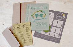 Library book wedding invitation set by yesdearstudio on Etsy, $6.00