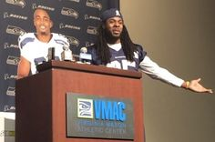 Richard Sherman and Doug Baldwin of the Seattle Seahawks put on a show for reporters Tuesday afternoon wherein the two men blasted the NFL for institutional hypocrisy and pumped up their sponsors. Richard Sherman, Seahawks Football, Seattle Seahawks, Athletic Center, Doug Baldwin, Marshawn Lynch, Online Marketing Strategies, 12th Man, Dream Team