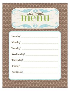 Printable menu pages--to print and frame for a dry erase menu board. Quite a few to choose from.