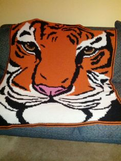 Crochet tiger afghan approx 3'x4'.  Great for Clemson or Auburn fans!  $100