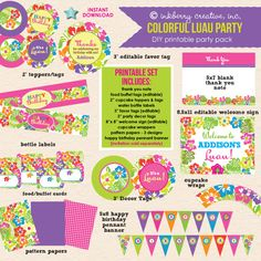Adorable, coordinating DIY PRINTABLE party package to match our popular Colorful Luau Party invitations! This package contains everything you need to create a fun, memorable event! This party package