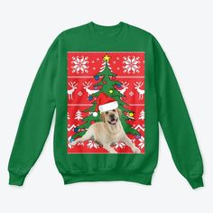 Yellow Labrador Dog Christmas from UGLY CHRISTMAS SWEATER SHOP This custom design features cute yellow labrador wearing a Santa hat with a Christmas tree, snowflakes, and reindeer incorporated into a festive holiday pattern. It's perfect for ugly Christmas sweater parties and as a gift for dog lovers.  Show off your holiday spirit with this unisex yellow lab Christmas crewneck sweatshirt- available in multiple colors (blue, red, green etc.) and sizes.