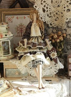 Купить Ивет текстильная интерьерная коллекционная кукла тильда ангел - коричневый, куклы, игрушки, тильды