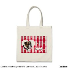 #Custom Heart Shaped #Boxer #Cotton Tote Bag #personalized #pet #love