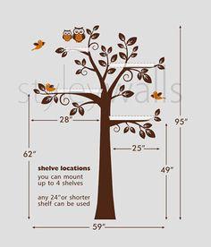 Children Wall  Shelf Tree Wall Decal Nursery Decal by styleywalls, etsy.com
