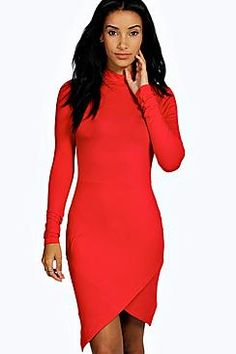 Laura High Neck Asymmetric Bodycon Dress