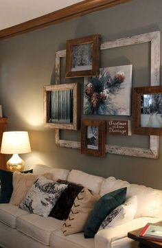 An effective wall feature is created by layering different colored timber frames in an asymmetrical way. Click on image to see more rustic decor and DIY ideas.