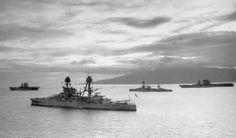 USS Arizona (foreground) with Lexington, a New York-class battleship, and Saratoga, interwar. Probably in Puerto Rico.