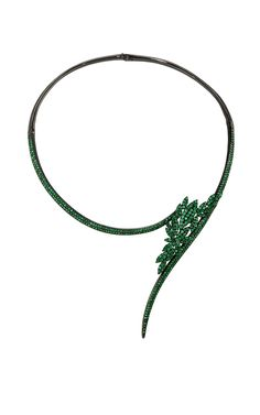 Bamboo Necklace with Emeralds by AS29