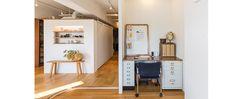 最大の特徴は、窓辺の景色を空間全体に引き込むために採用された回廊式の間取りです。家の中心に収納とキッチンを集め、その周囲にリビング・寝室・トイレ兼洗面所・バスルームを配置。中心に配置されたキッチン壁には飾り棚が設けられ、空間のアクセントになっています。 #workspace#広く見せる#回路式