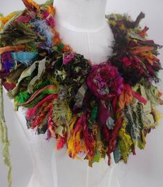 Wild Bohemian Rose Earthy Tattered Over the top Statement Necklace. via Etsy. Textile Jewelry, Fabric Jewelry, Textile Art, Jewelry Art, Jewellery, Fabric Beads, Fabric Art, Textiles, Yeux Halloween