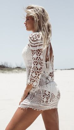 Josie Dress 😍 Material: Stretchy spandex/polyester blend Intricate crochet pattern Wear as a swim cover-up or festival outfit Open back design with tassel tie detail Three-quarter sleeve Beach Dresses, Sexy Dresses, Cute Dresses, Fashion Dresses, Crochet Beach Dress, Summer Outfits, Cute Outfits, Chanel, Bikini
