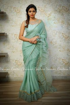 Buy Light Sea Green Color Ruffle Saree by Akanksha Singh at Fresh Look Fashion Net Saree Blouse, Lace Saree, Saree Blouse Patterns, Organza Saree, Saree Blouse Designs, Drape Sarees, Trendy Sarees, Stylish Sarees, Onam Saree