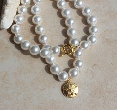 White Pearl Necklace Classic Hand Tied Gold Sand by InaraJewels