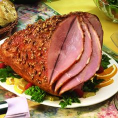 Glazed Ham With Pecan Crust - pin for Easter recipes!