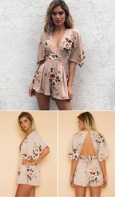 Deep V Neck Boho Floral Print Women Playsuit Short Sleeve Backless Rompers