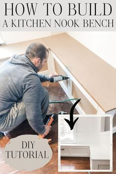 In this tutorial, you'll learn how to build a kitchen nook bench and make a beautiful space! #kitchennookbench Kitchen Nook Bench, Building A Kitchen, Diy Bench, Pinterest Diy, Decorating On A Budget, Beautiful Space, Diy Tutorial, Diy Home Decor, Diy Projects