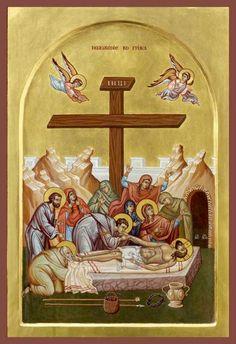 The Entombment & Burial Byzantine Icons, Byzantine Art, Religious Icons, Religious Art, Life Of Christ, Jesus Christ, Greek Icons, Church Icon, Orthodox Christianity
