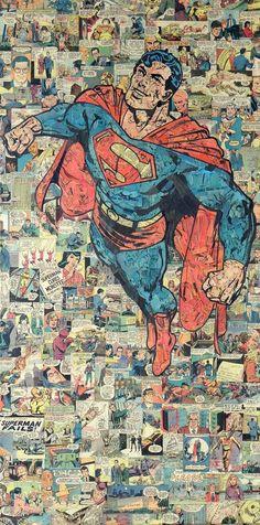Superman Comic Collage Art by Mike Alcantara Marvel Comics, Hero Marvel, Collages, Collage Artists, Superman Comic, Superman Actors, Superman Images, Superman Poster, Superman Logo
