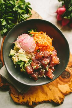 Ahi Tuna Poke Bowl / A Thought For Food via Sprouted Kitchen Bowl & Spoon Fish Recipes, Seafood Recipes, Asian Recipes, Cooking Recipes, Healthy Recipes, Ethnic Recipes, Ahi Tuna Poke, Clean Eating, Healthy Eating