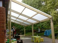 sloping lean to style pergola for outdoor sitting area Diy Pergola, Curved Pergola, Building A Pergola, Pergola Attached To House, Pergola Shade, Gazebo, Pergola Kits, Pergola Ideas, Cheap Pergola