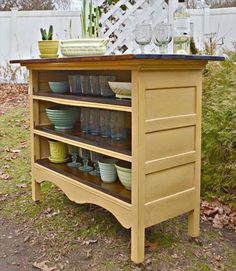 Great up-cycle of old dresser.  A live edge wood or tile top would complete the project perfectly