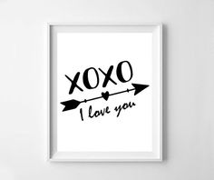 I love you arrow love black and white print print by NeoArtBook