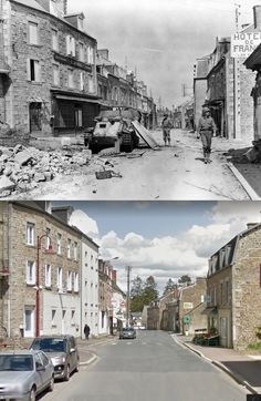 Then and Now WWII. Troops of the U.S. 35th Infantry Division in the town of Tessy-sur-Vire, Normandy, 1944. The vehicle is a knocked out Flakpanzer 38(t).