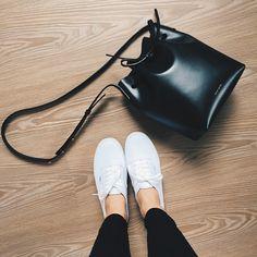Mansur Gavriel bucket bag + Vans sneakers