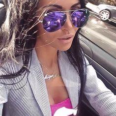 "Oversized ""VIOLET"" Large Purple Pink Green Gold Mirror Aviator Big Sunglasses L #FashionLabel #Aviator"