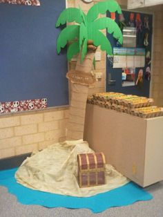 I got a pile of pillows and piled them up to create the island and i covered it with a sandy colour paint protector (from red dot and spotlight)...... The tree is just made for cardboard boxes and paint... the coconuts are small brown balloons....The water was just scarps of blue paper stuck together....KIDS LOVED IT!!!