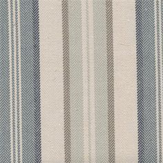 """This beautiful 1/4""""-1"""" alternating blue, ivory and gray striped linen blend drapery fabric, suitable for any decor in the home or office. Perfect for drapes and pillows.v244PPEF"""