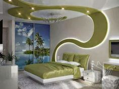 creative false ceiling design for bedrooms with Drywall LED lights