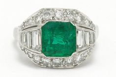 The Braunfels Colombian emerald engagement ring. This authentic Art Deco masterpiece makes for a dynamic cocktail ring or statement piece. Centered by a certified GIA 2.40 carat step cut of a lush, vivid grass-green, it appears with such luster as if lit from within. #emerald #diamond #engagementring #artdeco #artdecoring #artdecorings #emeralds #diamonds #palladium #palladiumring #palladiumrings #engagementrings #love #ido #statementring #statementrings #cocktailrings #cocktailring