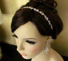 Jeweled rhinestone Headband - Tie on, halo , bridal rhinestone headband