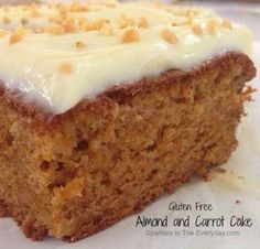 Sparkles in the Everyday!: Gluten Free Almond and Carrot Cake! - fluffy, moist and delicious! Gluten Free Cakes, Gluten Free Desserts, Gluten Free Recipes, Fodmap Recipes, Cake Recipes, Dessert Recipes, Gluten Free Banana, Healthy Cake, Almond Cakes