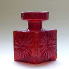 FT60 Square Daisy Candleholder in flame colour glass - Designed by Frank Thrower for Dartington Glass 1968