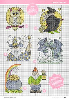 cross stitch - fantasy motifs (4/6) - owl, witch, wizard, sea serpent, pot of gold, gnome