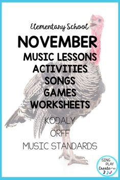 Sing, play, create and move through November Music Class lessons with this amazingly adaptable and interactive resource. K-6 lessons to learn music concepts, experience composing and improvisation along with movement activities. #novembermusicclasslessons #thanksgivingmusiclessons  #thanksgivingmusicclassactivities  #thanksgivingguitarsongs  #thanksgivingukulelesongs  #thanksgivingmusicactivitie #elementarymusiceducation  #orfflessons #orffteacher #kodalyteacher #MusicEducationActivities