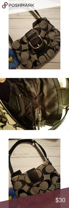 Coach black small handbag Classic pattern Coach handbag. Small in size but totally cute!! Clean. Very little use. Smoke free but pet friendly home. Coach Bags Shoulder Bags