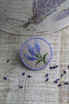 """Купить Брошь """"Лаванда"""" - фиолетовый, брошь, брошь с вышивкой, вышитая брошь, вышивка, вышивка ручная"""