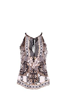 This silk oriental top is right on trend this spring/summer season. The silky print fabric is lightweight and feels soft and comfortable next to the skin. This top has a floaty feel and looks great worn with white or blue jeans or even with a fab pair of white cotton trousers. Add a gorgeous pair of summer sandals to complete the look.