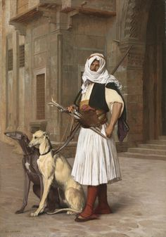 Arnaut with two whippet dogs, Jean-Leon Gerome Greyhound Kunst, Albanian Culture, Jean Leon, Empire Ottoman, Whippet Dog, Cleveland Museum Of Art, Grey Hound Dog, Oil Painting Reproductions, Dog Paintings