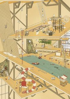 Architectural Drawings Risk Theme Park is a conceptual high-rise featuring floods, fires and climbing hazards. Collage Architecture, Architecture Presentation Board, Architecture Graphics, Architecture Student, Architecture Drawings, Architecture Design, Architectural Presentation, Photomontage, Royal College Of Art