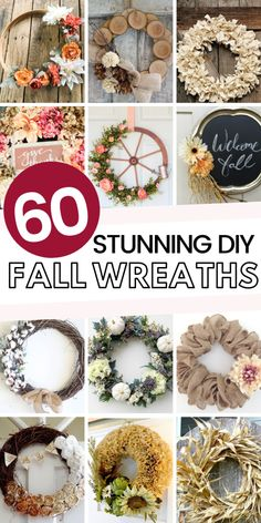 Best DIY Fall Decor Ideas – This Tiny Blue House Get your front door fall ready with one of these best DIY autumn wreaths. Easy and budget friendly these gorgeous wreaths are the best DIY Fall decor. Easy Fall Wreaths, Diy Fall Wreath, How To Make Wreaths, Holiday Wreaths, Holiday Crafts, Christmas Crafts, Winter Wreaths, Prim Christmas, Spring Wreaths