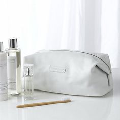 Pebblegrain Leather Wash Bag - White from The White Company Fashion Still Life, The White Company, Wash Bags, Bathroom Styling, Cloth Bags, Travel Essentials, Women's Accessories, Purses And Bags, Sunglasses Case