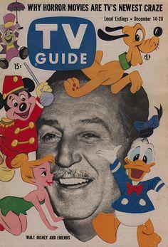 Walt Disney and Jiminy Cricket, Mickey Mouse, Pluto, Donald Duck, Tinker Bell December 1957 Walt Disney, Disney Love, Disney Magic, Disney Art, Disney Stuff, Disney Mickey, Vintage Tv, Vintage Disney, Vintage Magazines
