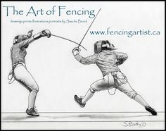 fencing and fencers artwork depicting the sport of fencing by fencingartist ~ www.fencingartist.ca ~ women's sabre