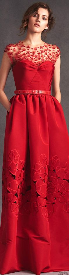Oscar de la Renta Resort 2016 red maxi prom dress. women fashion outfit clothing style apparel @roressclothes closet ideas
